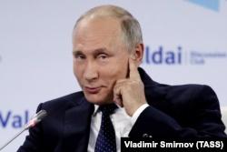 Владимир Путин на заседании клуба «Валдай» в 2018 году.