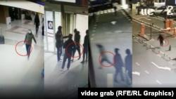 Записи с камер наблюдения в аэропорту, показывающие момент передачи сумки.