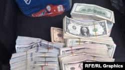 Деньги в пачках, собранные с торговцев на бишкекских рынках, готовые к перевозке.