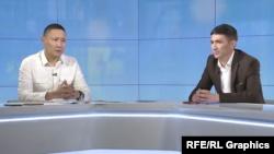 Майор Айбек Камчыбеков (слева) и старший лейтенант Марлис Осмонбеков во время интервью Кыргызской редакции Азаттыка.
